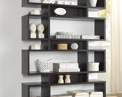 Baxton Studio - Baxton Studio Ronan Dark Brown/ Espresso Modern Storage Shelf - A simple,contemporary form makes the perfect canvas for displaying your photos,books,and other treasures. This fun but functional modern shelving unit is made with dark brown / espresso faux wood grain paper veneer over a frame of engineered wood.