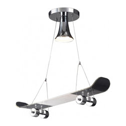 Elena 1-Light Skateboard Pendant - Does your teen love to skateboard? Decorate his or her room with this chrome pendant skateboard light. They'll have the coolest room out of all of their friends!
