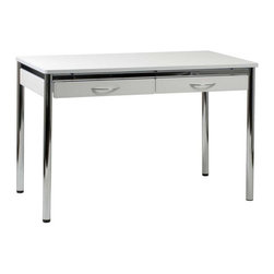 Eurostyle - Eurostyle Laurence-L Office Desk in White Leather & Chrome - Office Desk in White Leather & Chrome belongs to Laurence Collection by Eurostyle It's easier to get back to work when you're surrounded with sophisticated, modern style. The Laurence Leather Desk features a chromed steel base complemented by your choice of leather. The Laurence Leather Desk is perfect for both the home and office, offering plenty of space for your computer and drawers for storage. The high quality construction of the Laurence Leather Desk makes it ideal for commercial use. Desk Top (1), Desk Base (1)