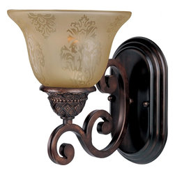 Joshua Marshal - One Light Oil Rubbed Bronze Screen Amber Glass Wall Light - One Light Oil Rubbed Bronze Screen Amber Glass Wall Light