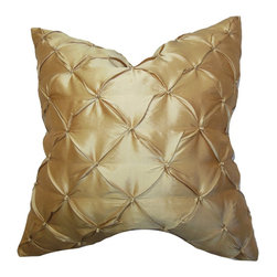 The Pillow Collection - Pecola Silk Pillow Gold - Let your living room or bedroom shimmer and shine in style with this chic toss pillow. With this throw pillow, you can make your sofa; bed or couch look lavish in an instant. Designed with a tufted detail, the soft gold hue of the accent pillow complements most settings and themes. Go completely extravagant without spending a fortune by pairing it with other silk pillows from our pillow collection. Made of 100% soft and fine quality silk fabric. Hidden zipper closure for easy cover removal.  Knife edge finish on all four sides.  Reversible pillow with the same fabric on the back side.  Spot cleaning suggested.
