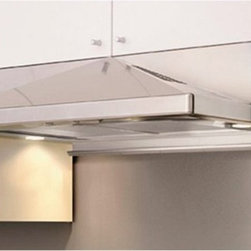 Zephyr - Zephyr 30W in. Pyramid Under Cabinet Range Hood - ZPY-E30AB - Shop for Hoods and Accessories from Hayneedle.com! Make sure your cooking area is clear of smoke odors grease vapors and more. The Zephyr 30W in. Pyramid Under Cabinet Range Hood features a built-in blower (your choice of either 290- or 400 maximum CFM rating) with a three-speed slide control. At its highest setting the hood only emits 3.2 sones meaning you'll hardly notice it as it does its work. The stainless steel frame features a sloped pyramid style and comes available in your choice of finish: black white or natural stainless steel. A set of metal mesh filters are included to help remove irritants and pollutants from the air each featuring a durable dishwasher-safe design. A back-panel utensil bar is included adjusting to fit a variety of depths and keep cooking tools at a convenient height. Two 50W halogen bulbs are included for illumination.About ZephyrSince 1997 Zephyr has remained true to their vision of delivering the unexpected. Founder Alex Siow embraced the idea that a kitchen hood could do much more than vent air it could be as distinctive in its design as in its performance. Zephyr was first to recognize the demand for powerful professional-grade hoods for the home that were also beautiful. They answered the call with their Power Series of high CFM range hoods that put air quality concerns to rest with quiet efficiency. Zephyr raised the bar with self-cleaning filter-free technologies. Their solid reputation for well-construction high-powered range hoods is matched by their style and design. Fashion-forward and inspired their lines of range hoods include original works from renowned designers Robert Brunner Fu-Tung Cheng and David Lewis.