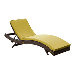East End Imports - Peer Chaise in Brown Peridot - Don't let moments of relaxation elude you. Peer is a serenely pleasant piece comprised of all-weather cushions and a rattan base. Perfect for use by pools and patio areas, chart the waters of your imagination as you recline either for a nap, good read, or simple breaths of fresh air. Moments of personal discovery await with this chaise lounge that has fold away legs for easy storage or stackability with other Peer lounges.