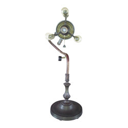 Retro Steam Works - Industrial Steampunk Vintage Torch Table Lamp - Add a little funk to your home with this steampunk style table lamp. This unique table lamp is creatively crafted from a vintage blow torch, recycled copper piping, brass unions, a couple of vintage pressure gauges, jute twine and some other fun stuff.