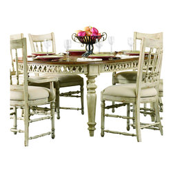 "Hooker Furniture - Summerglen Oval Dining Table - White glove, in-home delivery included!  This casual country dining table is crafted from hardwood solids and cherry veneers and handpainted.  Extends to 118"" w x 47 3/4"" d x 30"" h with two leaves.  Floor to bottom of apron: 25"" h"