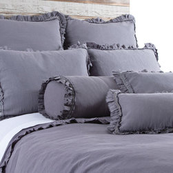 "Pom Pom at Home - Pom Pom at Home Mathilde Slate Duvet Cover - Pom Pom at Home's bedding and accessories lend lived-in elegance to everyday experiences.�� The Mathilde duvet cover enhances a bedroom's decor with sweet and feminine appeal. Frayed ruffles and luxurious velvet trim deliver a textured accent to the slate gray linen bedding. Made from 100% linen. Available in twin, queen or king sizes. Machine washable. Insert not included. Queen: 88""W x 88""H. King: 90""W x 104""H. 2.5"" frayed edge. 0.25"" velvet ribbon trim."