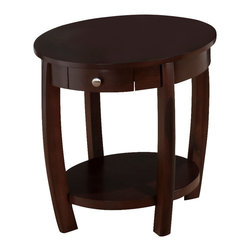 Jofran - Jofran 436-3 Riverside Round End Table with Drawer and Shelf in Brown Walnut - Add character to your living room with this charming cocktail table. The round surface features a lift-top, handy for holding drinks or your laptop while you are lounging on the sofa. One drawer and one round bottom shelf provide storage space for books, magazines, and living room accessories.