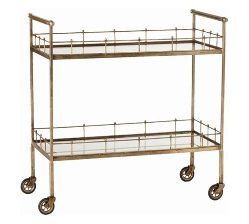 Arteriors, Lisbon Vintage Brass & Glass Bar Cart - I would like to see this petite and fun bar cart with a great piece of art above and glassware stored below.