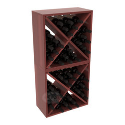 "Wine Racks America - 48 Bottle Wine Cube Collection in Premium Redwood, Cherry Stain + Satin Finish - Two versatile 24 bottle wine cubes. Perfect for nooks, crannies, and converting that ""underneath"" space into wine storage. Mix and match finishes for a modern wine rack twist. Popular for its quick and easy assembly, this wine rack kit is a perfect storage solution for beginners and experts."