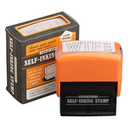 "wtf stamp - what the? Outrageous inker imprints ""WTF"" in all-business black with three check boxes to denote exclamation, interrogation, exasperation. Self-inking stamp—no pad needed.- Plastic- Made in China"