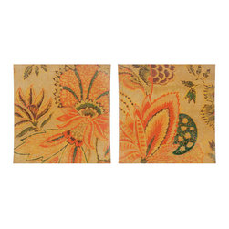 Paragon Decor - Floral Dreams Set of 2 - Exclusive Mixed Media Gicl�ee - Concave Wood Panel