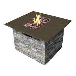 Bond Newcastle Fire Table With Cover - Fire pits are great for ambiance, but also practical for early spring shindigs. Evenings cool off quickly and the fire pit will keep your guests warm.