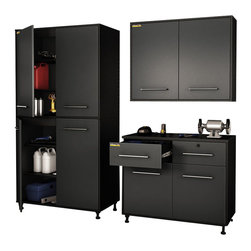 South Shore - South Shore Karbon 3 Piece Wall Storage Unit in Pure Black and Charcoal - South Shore - Garage Storage - 5227722970972PKG - South Shore Karbon 3 Piece Wall Storage Unit in Pure Black and Charcoal