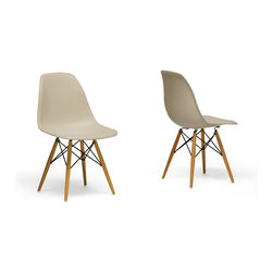 "Baxton Studio - Baxton Studio Azzo Beige Plastic Mid-Century Modern Shell Chair (Set of 2) - The retro simplicity of these classic beige modern shell chairs will instantly enhance the modernity of your room. Each of these mid-century modern dining chairs is made from durable molded polypropylene plastic with an ergonomically-shaped curved seat. The legs are wooden and include steel hardware in black as well as black plastic tips to protect sensitive flooring. To clean, wipe with a damp cloth. The Azzo Chair is made in China and requires some assembly.  18.1""W x 22.3""D x 31.25""H, seat height: 18.1""W x 16""D x 17.4""H"