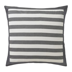 "DwellStudio - DwellStudio Graphic Stripe Ink Euro Pillow Sham Set - The Graphic Stripe euro shams by DwellStudio encompass comfort and contemporary style. Thick ink gray and crisp white stripes form the classic design of these sophisticated pillow shams. 26"" x 26""; 2"" flange; 300-thread-count, yard-dyed cotton sateen; Machine wash, tumble dry low; Made in India; Reverse to same hand-painted pattern; Inserts not included"