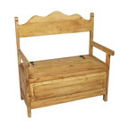 Mexican Rustic Pine Storage Bench - Handcrafted Mexican pine storage bench. Shipping included.