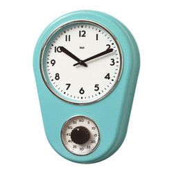 Bai Design - Retro Turquoise Kitchen Timer Wall Clock - - Spray-painted ABS bezel with Chrome-finished accents  - Spray-painted metal hands  - Build-in one-hour timer for cooking   - Assembly not required   - Manufactured in China Bai Design - 280.TU
