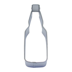 """RM - Bottle Tin Cookie Cutter 4.5"""" B0867 - Bottle cookie cutter, made of sturdy tin, Size 4.5 in. tall, 1.5"""" width at the fat part of the bottle. Depth 7/8 in., Color silver"""