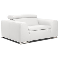 Contemporary Accent Chairs Hampton White Leather Armchair