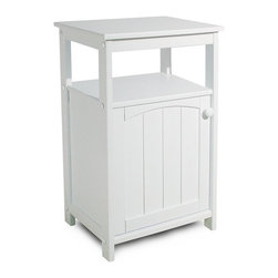 Catskill Craftsmen - Telephone & Utility Stand w White Finish & Do - Cottage inspired design elements including a wainscoted front door give this telephone and utility stand a warm, welcoming look that will easily enhance your home or beach house. Constructed of rubberwood and MDF in creamy white finish, the unit features both a storage shelf and a single door cabinet. Cottage Collection. Made of Rubberwood/MDF lacquered wood. White lacquered finish. Solidly constructed with warp-resistant materials. Open shelf for books and other items. Interior shelves on the Jelly cabinet. Wainscoted doors. Overall: 13 in. L x 18 in. W x 28 in. H (22 lbs.). Table top: 13 in. L x 18 in. W. Interior cabinet: 15 in. W x 9 in. L x 16 in. HAs rugged and as beautiful as the Catskill Mountains, our imports reflect our commitment to quality.