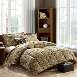 Intelligent Design - Intelligent Design Talia Comforter Mini Set - Take a walk on the wild side with the Talia Comforter Set. The softspun fabrication on the top of bed gives a very soft hand feel while the cheetah animal print adds a punch to your current d̩cor. Down alternative fill and box quilting provide warmth for any time of year. Two decorative pillows feature fabric manipulation and embroidery to enhance the top of bed. Comforter/Sham: 100% polyester cozyspun, animal skin printed face, cozyspun solid reverse, hidden zipper closure on sham, 270gsm down alternative fill and box quilting Square Pillow: 100% brushed polyester solid fabric cover with embroidery on face, solid reverse, polyester filling Oblong Pillow: 100% polyester softspun fabric cover, pieced with ruching and taping on face, solid reverse, polyester filling