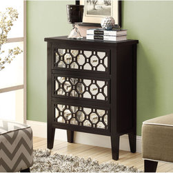 None - Contemporary 3-drawer Bombay Chest - A gorgeous black,this contemporary Bombay chest features three sleek mirror drawers and elegant silver pull handles. With three deep drawers,this chest is a convenient and stylish addition to your home decor.