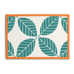 Teal Modern Leaf Tailored Placemat Set - Class up your table's act with a set of Tailored Placemats finished with a contemporary contrast border. So pretty you'll want to leave them out well beyond dinner time! We love it in this modern outdoor trellis of tropical leaves in teal & white. it's ready to soak up the sun!