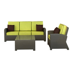 Barbados 3-Piece Modern Wicker Sofa Set, Kiwi Cushions