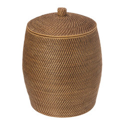 KOUBOO - Rattan Beehive Hamper with Liner, Honey Brown - This rattan hamper will keep laundry out of sight in a naturally beautiful container. Hand woven from rattan following the shape of a classic beehive, this honey-brown  hamper features a removable, machine-washable, cotton liner to protect your clothes.