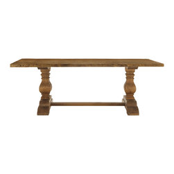 Kensington Small Dining Table - Each plank of reclaimed wood in our Kensington Table has made a winding journey around the world. Like well traveled companions, these tables are characterized by distinctive knots and joint lines. They display a beautiful variance in grain and color that can�t be replicated. And within each marking, there exists a whisper of rare history.