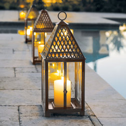 Trident Lantern - Our Large Outdoor Trident Lantern delivers five-star quality outdoor lighting that weathers the elements beautifully. These lanterns are a striking way to create visual impact indoors or out.