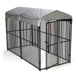 Jewett-Cameron Companies - European Style Kennel with Cover, 6'H x 5'W x 10'L - Our European Panel system is the Best of the Best when it comes to safe containment for your pet. The clean lines of the panels, no sharp edges and Black Powder coat finish are perfect for any setting. Individual Panels & Gates are 5ft Wide & 6ft High. With 2 ½ in. vertical upright spacing, this panel MAY NOT be ideal for your Smaller breed and/or Puppy, however it is suitable for all other Dog Containment needs. Always insure your Pet is properly trained to enjoy their personal kennel, prior to use. This Modular panel system allows you to customize your layout to suit your pets needs for comfort.