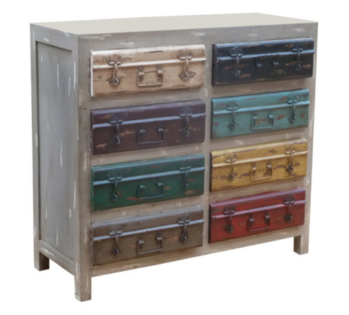 """Coast Coast - Coast To Coast - Two Drawer Two Door Cabinet In Moga Distress Grey Multicolor - Visions of yesteryear travels are evoked by the vintage luggage facade in our Moga Distress Grey Multicolor finished cabinet. Two drawers and two doors which open to reveal fixed shelves provide plenty of storage for all your """"travel"""" needs!"""