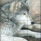 The Tile Mural Store (USA) - Tile Mural - Calm Wolf - Ck - Kitchen Backsplash Ideas - This beautiful artwork by Carla Kurt has been digitally reproduced for tiles and depicts a wolf sitting in the grass.  Our wolf tile murals and our tiles with foxes are perfect as part of your kitchen backsplash or your tub and shower surround bathroom tile project. Images of wolves on tiles and fox images on tiles add a unique element to your bathroom tiling project as well. Consider a tile mural of a woodland scene for any wall tile project.