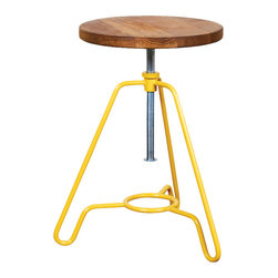 Nuevo Living - Briggs Low Adjustable Stool with Seared Oak and Bartlett Steel by Nuevo - HGDA34 - The Briggs Low Adjustable Stool with Seared Oak and Black Steel by Nuevo features a Bartlett (yellow) steel base and a seared French Oak seat.  Available in 6 different colors:  Black, white, ivory, sage, bartlett (yellow) and shanghai (red).