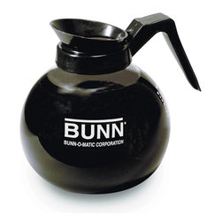 BUNN - Bunn 42400 Black 12-cup Glass Decanter - The Bunn coffee decanter spotlights a black handle,and a glass and plastic construction designed for continuous use,serving coffee for many years. This 12-cup decanter spotlights a drip-proof,design for fast and clean pouring from the front.