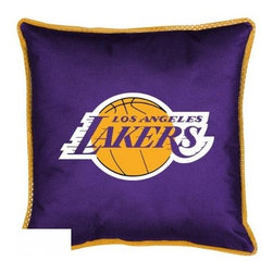 Sports Coverage - Sports Coverage NBA Los Angeles Lakers Sideline Toss Pillow - Make that new officially licensed NBA Los Angeles Lakers Sidelines Toss Pillow look as good as it feels. A must have for any true fan. A New Design - Same great quality!! Coordinating Toss pillow to match jersey material logo Comforter. Each Pillow is made from 100% polyester jersey material (just like the athlete's wear). Pillow has large team logo in the center of the pillow, as well as a strip of mesh trim around it.   Features:  - Toss Pillow is 17 x 17 ,   - Poly/Cotton bottom side,   - 100% Polyester Cover and Fill,   - Sidelines is trimmed in teams secondary color,   - 100% Polyester Jersey,   -  Spot Clean only ,
