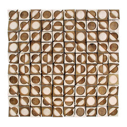 """EllingWoods Design - Modern Wall Sculpture  """"Eye Candy"""" , 36"""" x 36"""" - EllingWoods geometric wall sculpture with alternating and angled patterns of light and dark woods create a sophisticated design element to any modern interior."""