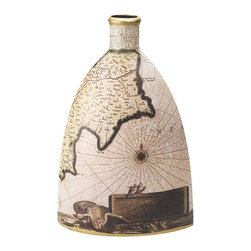 "Porcelain Nautical Map Vase - The nautical map vase measures 8"" x 12.5"". It is made of porcelain. It will add a definite nautical touch to whatever room it is placed in and is a must have for those who appreciate high quality nautical decor. It makes a great gift, impressive decoration and will be admired by all those who love the sea."
