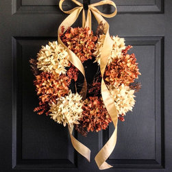 Wreaths for Doors by HomeHearthGarden - Debut an elegant Autumn Wreath original from HomeHearthGarden. Hand assembled with the finest artificial hydrangeas with complementing berries on a natural grapevine wreath base and includes a sashayed ribbon through the wreath.