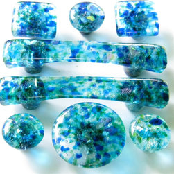 Blue & Green blend hardware knobs, handles and pulls - Carol Gilewicz of Torch Lake Glass