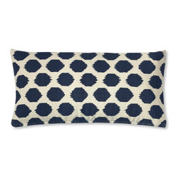 Ikat Dot Printed Canvas Pillow Cover, Navy - This ikat dot lumbar pillow looks a lot more expensive than it is. It's perfect for a couch — I want it for my couch!