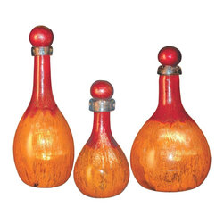 "Couleur - Orange Glow Glass Bottles with Tops  (set of 3) - Handcrafted by artisan glass blowers the Orange Glow Glass Bottles with Tops make a wonderful set of art glass accessories.  Because this is made of hand blown glass measurements are approximate - Each item will vary slightly in size and color.Specifications Dimensions: Are approximate because of the handmade nature of this product. (width x height) Small: W 6"" x H 12"" (approximately)Medium: W 8"" x H 16"" (approximately)Large: W 7"" x H 19"" (approximately)Made in: Mexico (MEX)  Style: Room: Living Room, Dining Room, OfficeUse: Decoration Only - Home Accent, Table Top Decor, Wall Decor, Shelf DecorIndoor / Outdoor: IndoorCare: Wipe clean with a soft damp cloth.Additional Information: These are sold as a complete set."