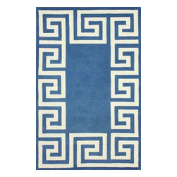 """nuLOOM - Contemporary Blue Hand Tufted Area Rug Greek Key, Blue, 8' 6"""" X 11' 6"""" - Made from the finest materials in the world and with the uttermost care, our rugs are a great addition to your home."""