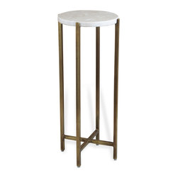 Kathy Kuo Home - Zahara Round Ivory Marble Side Table - Great things really do come in small packages.  Case in point: this classic modern drink table topped with creamy polished marble.  We love the simple lines and easy elegance of this piece.  Use it how you like, perfect for holding a drink or perhaps - at the Palm Springs house- a treasured succulent plant.