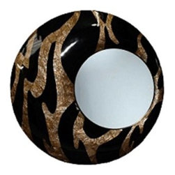 eUnique Decor - eUnique Decor 48 x 48 Abenaki Wall Mirror - Zig-zags of laminated mother of pearl shell mosaic with a black gloss finish inlaid by hand A place where you can express your true uniqueness through beautifully handcrafted pieces from the islands of the Philippines. eUnique invites you to explore their diverse selections of over scaled home decor all made of various natural elements including crushed stone elephant grass jungle vines and barks. Don't be afraid to reflect your wild side with their distinct accent mirrors wall decor lamps and vases. They offer a wide variety of unique accent lamps mirrors vases and wall decor. Their concept of over-scaled accent pieces are all handcrafted and have natural fibers as well as aluminum and brass and each have their own unique touch. Fertile forest soils in the islands of the Philippines make favorable growing conditions and allow the natural fibers used in their products to be renewed through natural regeneration. Their mission is to provide the best products and service to their customers at great prices. Specifications Color: Pearl and black Materials: Mother of pearl.
