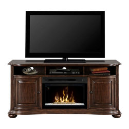 Dimplex - Dimplex Henderson Media Console with Electric Fireplace Multicolor - GDS25L-1414 - Shop for Fire Places Wood Stoves and Hardware from Hayneedle.com! Enjoy lifelike flames or ambient light shows with the Dimplex Henderson Media Console with Electric Fireplace a unique furnishing for bedrooms TV rooms and more. This high-tech console is loaded with cutting-edge features including gesture recognition technology a patented Comfort$aver ceramic heating system and Multi-Fire XD technology that can simulate a wood-burning or gas flame or create an ambient light theme. Crafted from wood veneer in a traditional style this console is finished in distressed cherry and accented with antique brass hardware. Two adjustable shelves and three top cubbies provide plenty of space for media storage and electronics devices.About DimplexDimplex North America Limited is the world leader in electric heating offering a wide range of residential commercial and industrial products. The company's commitment to innovation has fostered outstanding product development and design excellence. Recent innovations include the patented electric flame technology - the company made history in the fireplace industry when it developed and produced the first electric fireplace with a truly realistic wood burning flame effect in 1995. The company has since been granted 87 patents covering various areas of electric flame technology and 37 more are pending. Dimplex is a green choice because its products do not produce carbon monoxide or emissions.