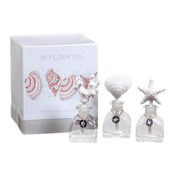 Atlantis Porcelain Diffuser Gift Set - A gorgeous trio of uniquely styled diffusers that boast porous porcelain tops that diffuse the a wonderful scent of Pacifique through your home. Pacifique is a clean crisp scent that reminds on of a cool coastal morning, waves gently lapping at the shore. Give as a most thoughtful gift or keep it for yourself and place one in every room.