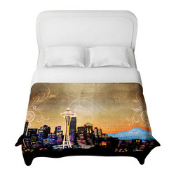 DiaNoche Designs - Seattle Skyline Duvet Cover - Lightweight and super soft brushed twill duvet cover sizes twin, queen, king. Cotton poly blend. Ties in each corner to secure insert. Blanket insert or comforter slides comfortably into Duvet cover with zipper closure to hold blanket inside. Blanket not Included. Dye Sublimation printing adheres the ink to the material for long life and durability. Printed top, khaki colored bottom. Machine washable. Product may vary slightly from image.