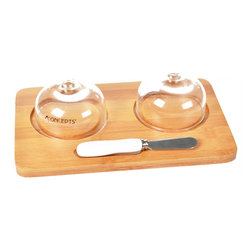 """Concepts Life - Concepts Life Butter/Cheese Dish With Knife - Finally one dish for both butter and cream cheese! This bamboo butter dish will add style and convenience to your everyday dining as well as sophistication for family gatherings and holidays. The glass covers keep your butter and cream cheese fresh and the butter knife completes the set, making it an ideal house-warming gift.  Made from bamboo and high-quality porcelain Dish measures: 7"""" long x 6"""" wide x 2.75"""" high Includes 2 glass lids Holds two distinct sticks of butter or cream cheese Includes butter knife with porcelain handle Perfect for gifting Imported"""